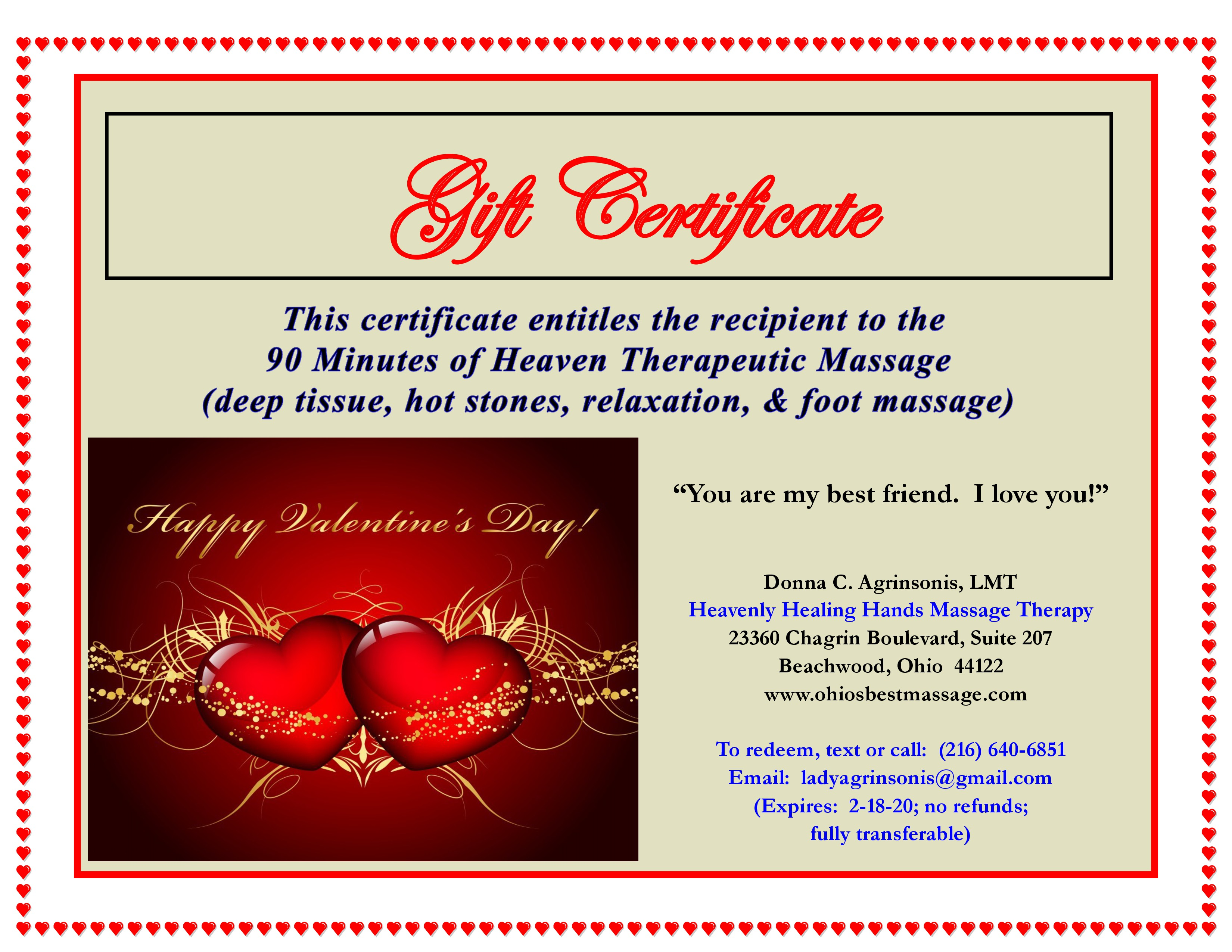 Massage Gift Certificates Available Now Cleveland Couple Massage